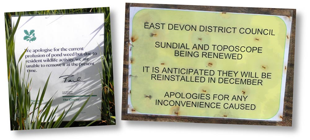 Apologetic signs from the National Trust and East Devon District Council