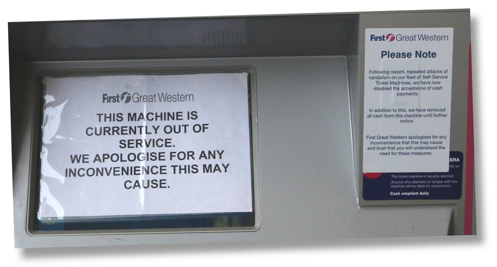Apologies plastered across a railway ticket machine