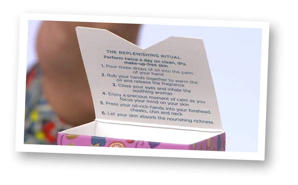 Skincare packaging copywriter: close-up from QVC of the pack's replenishing ritual copy