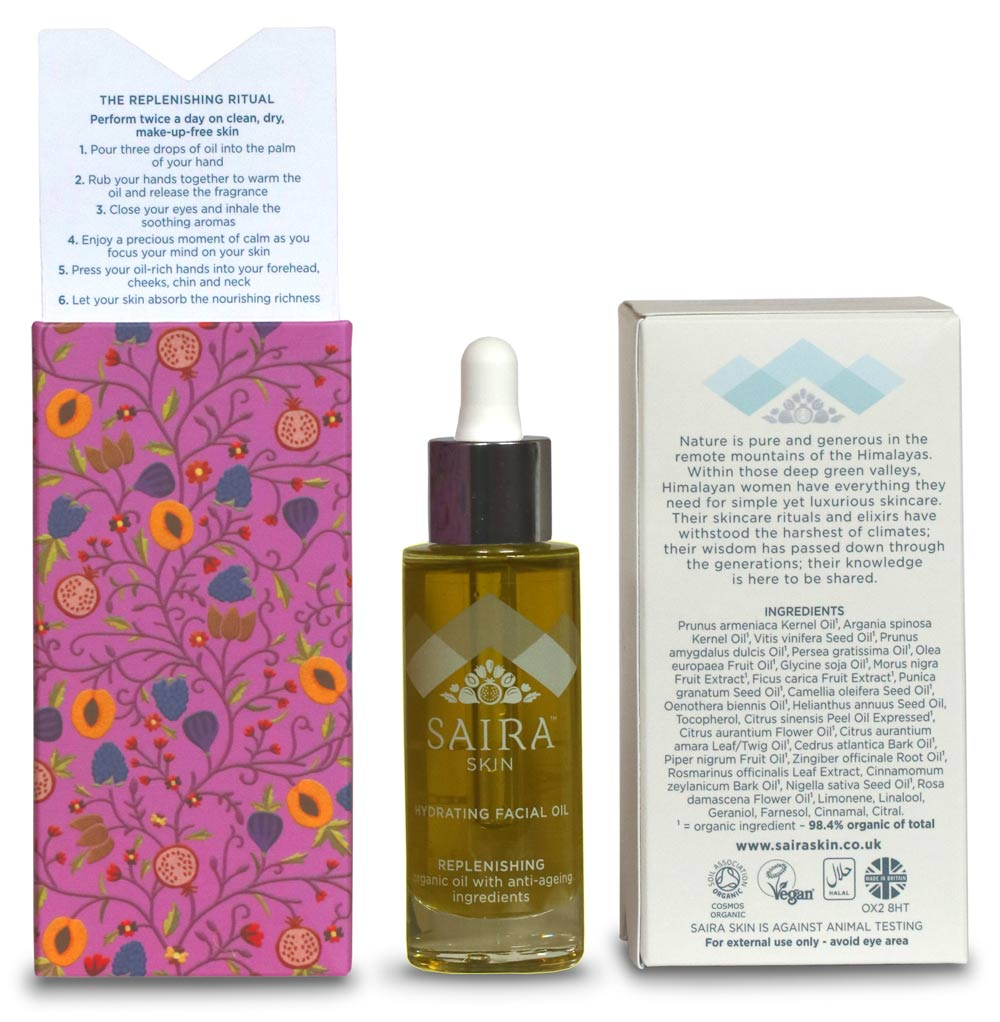 Skincare packaging copywriter: bottle and packs for Saira Skin Hydrating Facial Oil