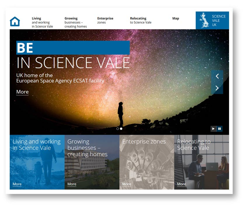 Web content and copywriting: home page from the Science Vale website