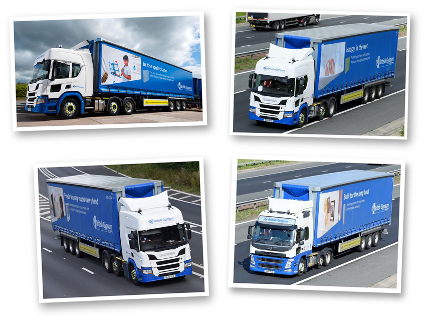 Fleet livery copywriting: four British Gypsum lorries bearing text