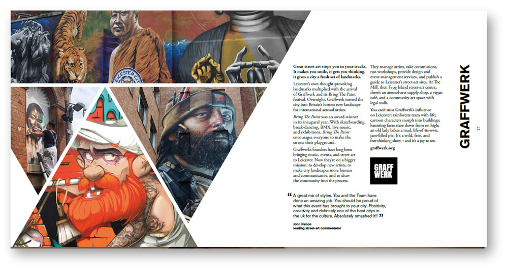 Arts and culture copywriting: Graffwerk pages from Leicester arts prospectus