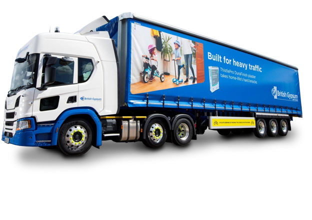 Fleet livery copywriter: British Gypsum lorry with image and text on the side curtain