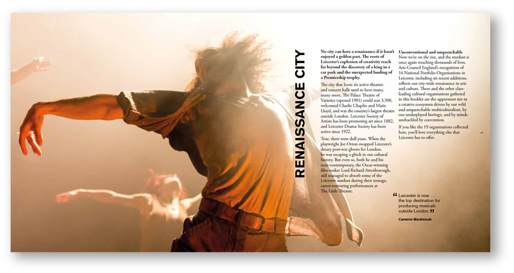 Arts and culture copywriting: Renaissance city pages from Leicester arts prospectus
