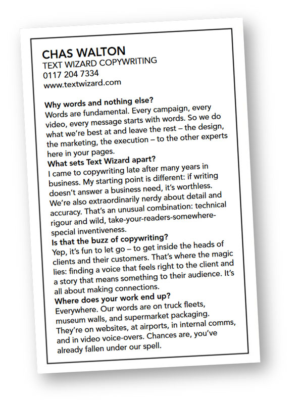 Text Wizard Copywriting entry in Bristol Life