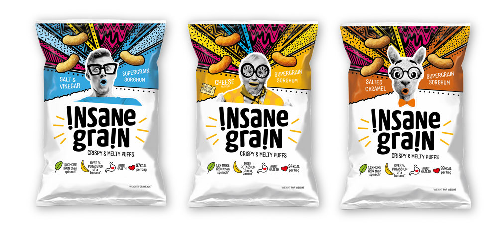 Packaging copywriter: three packs of Insane Grain