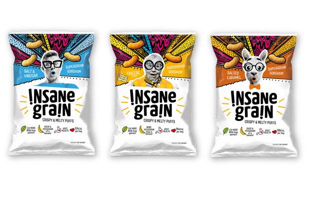 Food packaging copywriter: three packs of Insane Grain
