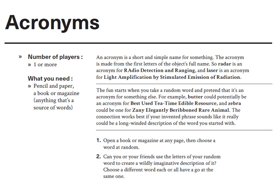 Instructions for word game, Acronyms