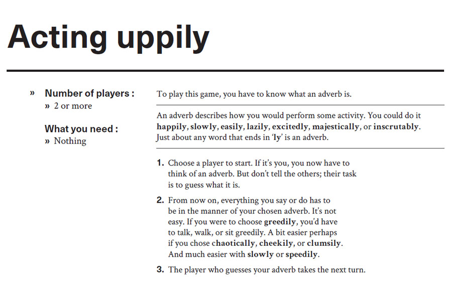 Instructions for word game, Acting uppily