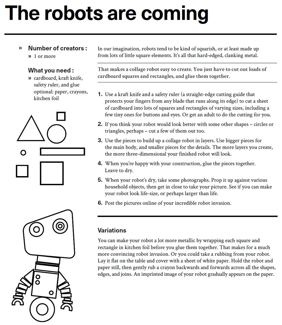 Instructions for art activity, The robots are coming