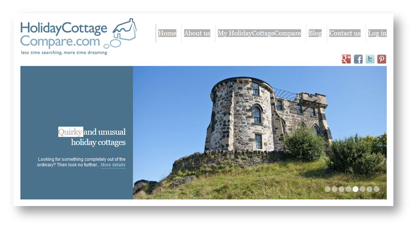 Tourism and holidays copywriter: extract from the Holiday Cottage Compare home page
