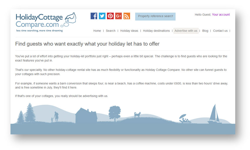 Tourism and holidays copywriter: extract from the Holiday Cottage Compare website