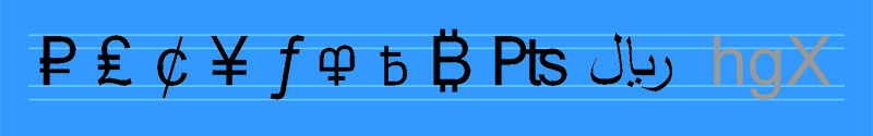 A string of currency symbols